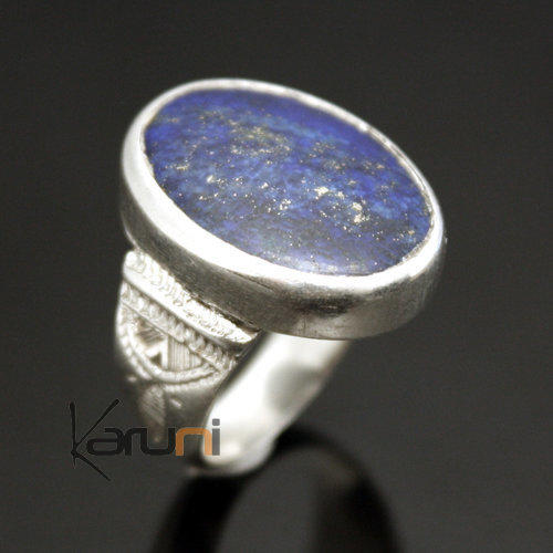 African Ring Lapis Lazuli Sterling Silver Ethnic Jewelry Oval Men/Women Tuareg Tribe Design 03