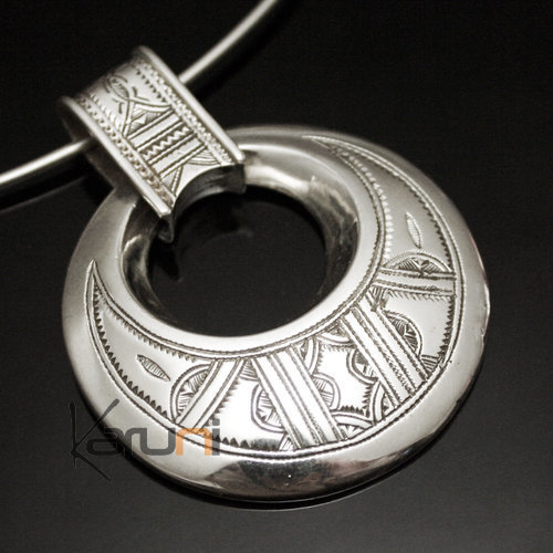 African Necklace Pendant Sterling Silver Ethnic Jewelry Big Engraved Round Tuareg Tribe Design 01