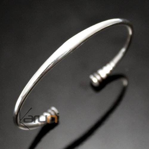 Ethnic Bracelet Sterling Silver Jewelry Round Smooth Ebony Ends Men/Women Tuareg Tribe Design 01