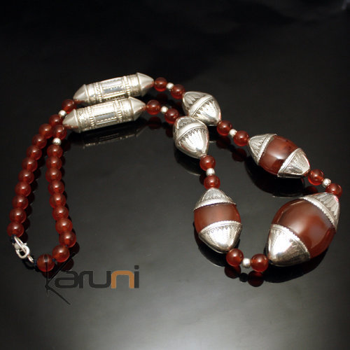 Silver and pearl necklace Agate - KARUNI