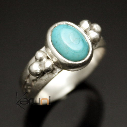 Ethnic Turquoise Ring Sterling Silver Jewelry Thin Oval Tuareg Tribe Design 03