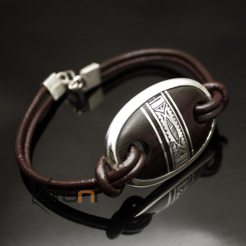 Bracelet Medallion in Silver and Ebony Leather Link 04 Oval