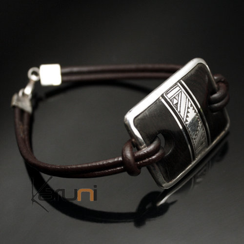 Bracelet Medallion in Silver and Ebony Link Leather 06 Rectangle