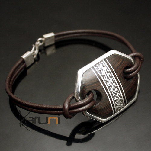 Bracelet Medallion in Silver and Ebony Link Leather 07 Rectangle