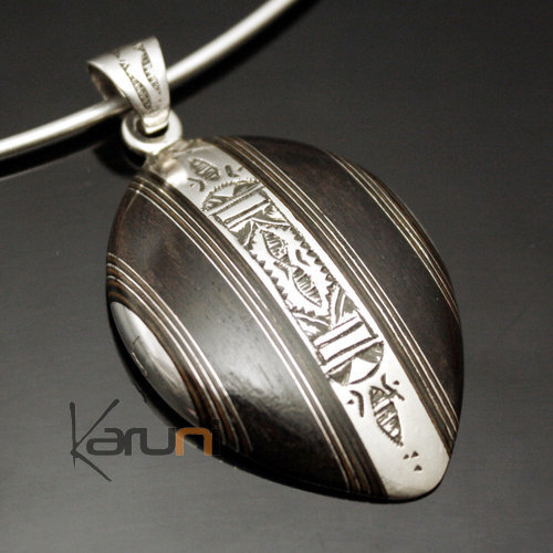 African Necklace Pendant Sterling Silver Ethnic Jewelry Ebony Stripped Diamond Tuareg Tribe Design 26