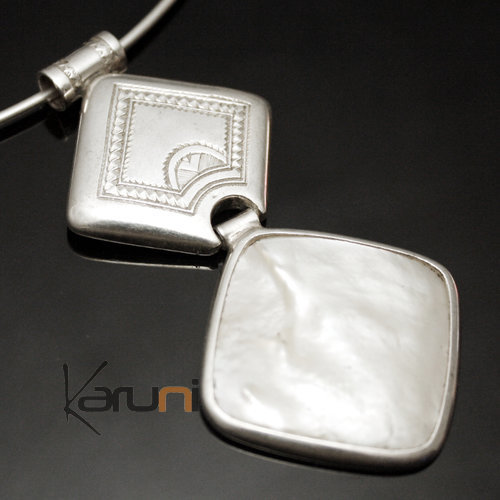 African Necklace Pendant Sterling Silver Ethnic Jewelry Mother of Pearl Diamond Tuareg Tribe Design 02