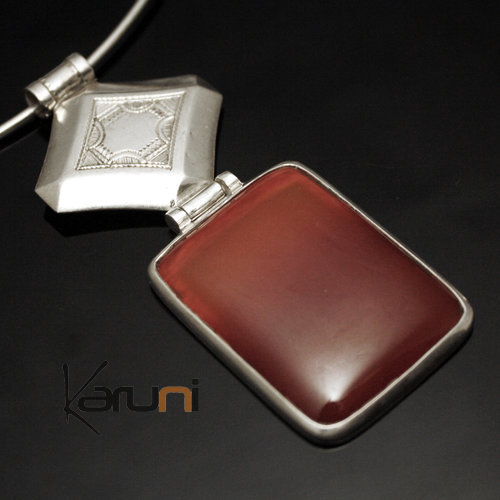 African Necklace Pendant Sterling Silver Ethnic Jewelry Red Agate Rectangle Tuareg Tribe Design 27