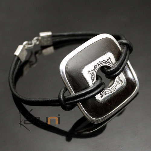 Bracelet Medaillon in Silver and Ebony Link Leather 01 Rhombus