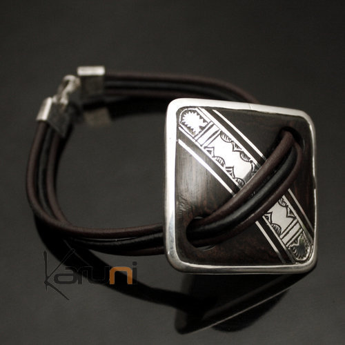 Bracelet Medallion in Silver and Ebony Link Leather 02 Diamond