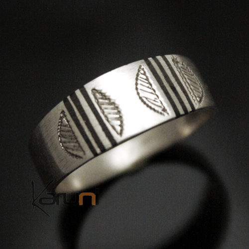 Ethnic Engagement Ring Wedding Jewelry Sterling Silver Ebony semi-large Men/Women Tuareg Tribe Design 02