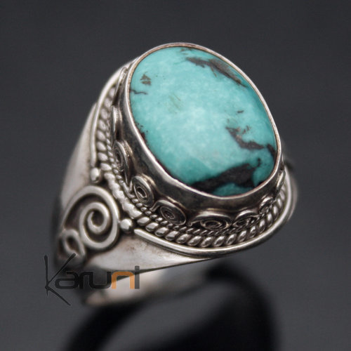 Nepalese Turquoise Silver Ring 61