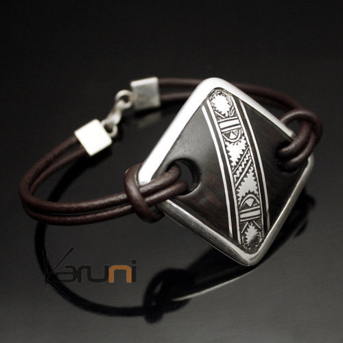 Bracelet Medaillon in Silver and Ebony Adjustable Leather Link 03 Diamond