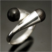 Ethnic Jewelry Ring Sterling Silver Ebony Nail Crossed Round Adjustable Tuareg Tribe Design KARUNI