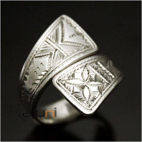 Adjustable engraved flat cross silver ring 1033