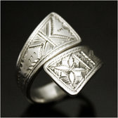 Ethnic Jewelry Ring Sterling Silver Ebony Crossed Flat Engraved Adjustable Tuareg Tribe Design KARUNI