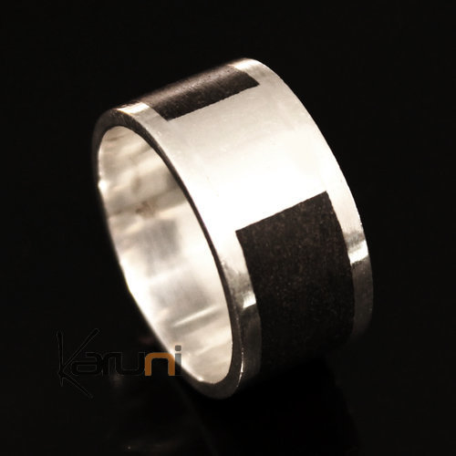 Ethnic Engagement Ring Wedding Jewelry Sterling Silver Smooth Ebony Square Tuareg Tribe Design Karuni Inspired