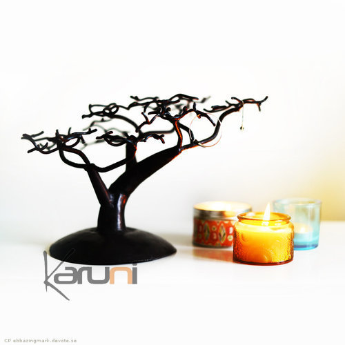 Jewelry Tree-holder design 20 cm cedar recycled metal Madagascar baobab
