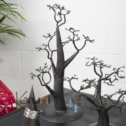 Jewelry Tree-holder design 60 cm cedar recycled metal Madagascar baobab
