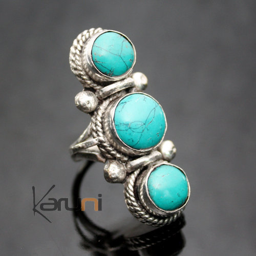 jewelry ethnical Turquoise brass ring