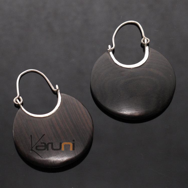 f38583735 Ethnic Hoop Earrings Sterling Silver Jewelry Flat Ebony Tuareg Tribe Design  35