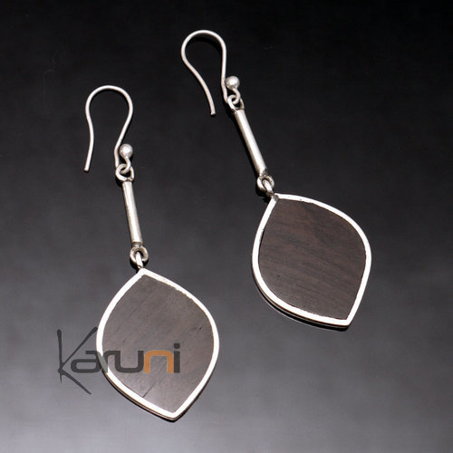 Ethnic African Jewelry Earrings in Sterling Silver and Ebony Big Smooth Leaves Tuareg Tribe Design KARUNI