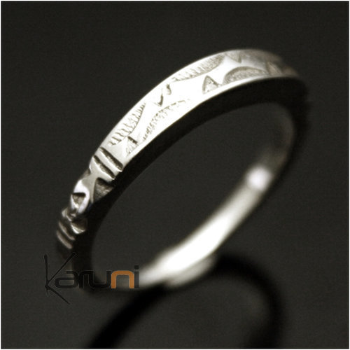 Ethnic Engagement Ring Wedding Jewelry Sterling Silver Thin Engraved Men/Women Tuareg Tribe Design Square 09