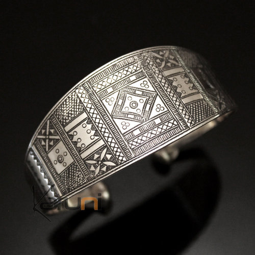 Ethnic Cuff Bracelet Sterling Silver Jewelry Large Ornamented Tuareg Tribe Design