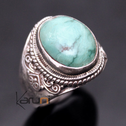 Sterling Silver Ring 925 Nepal 35 Signet Man / Woman Turquoise Filigranes