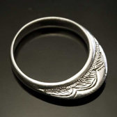 Silver Ring Ring Fine Engraved Engraved Man / Woman 08 Crown