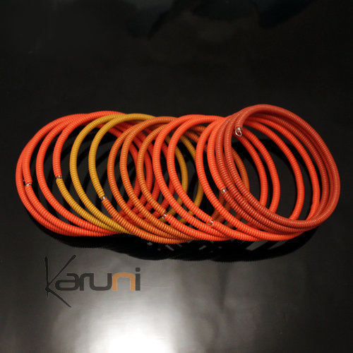 Tribal Jewelry Bracelet Bangles Fashion Spiral Zulu African Design Telephone Wire Mahatsara 7 cm Orange