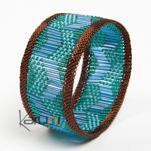 Tribal Jewelry Bold Cuff Bracelet Trendy Glass Beads African Design Zulu Copper Mahatsara 3.5 cm Green Turquoise