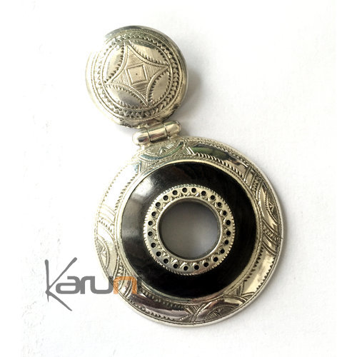 African Necklace Pendant Sterling Silver Ethnic Jewelry Ebony Engraved Round Tuareg Tribe Design 04