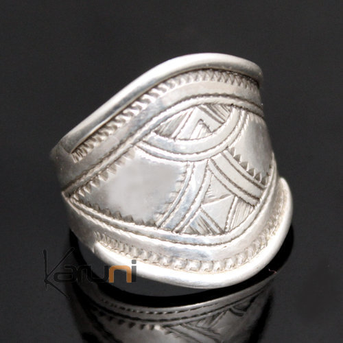 Ethnic Wide Band Ring Sterling Silver Jewelry Engraved Men/Women Tuareg Tribe Design 16