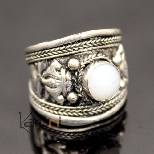 jewelry ethnical nepalese white agath ring 27