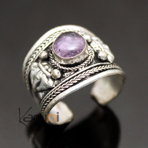 jewelry ethnical mix silver ring Amethyste 23