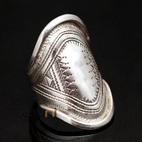 Ethnic Marquise Ring Sterling Silver Jewelry Engraved Tuareg Tribe Design 21