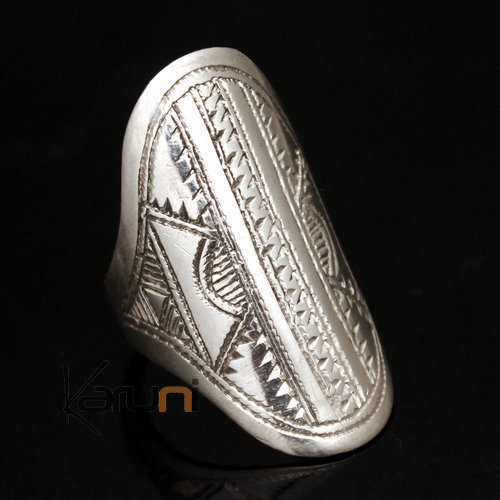 Ethnic Marquise Ring Sterling Silver Jewelry Engraved Tuareg Tribe Design 23