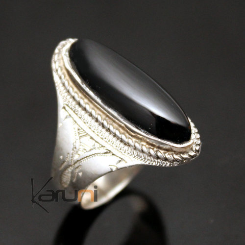 Ethnic Marquise Ring Sterling Silver Jewelry Black Onyx Engraved Tuareg Tribe Design 49