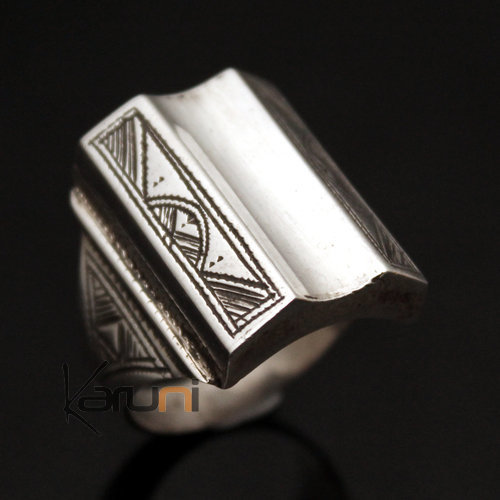 Ethnic Signet Ring Sterling Silver Jewelry Voluminous Big Square Waves Men/Women Tuareg Tribe Design 24