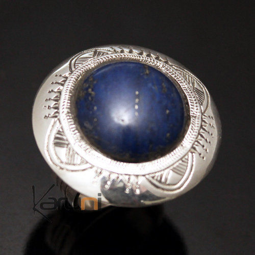 African Ring Lapis Lazuli Sterling Silver Ethnic Jewelry Big Round Men/Women Tuareg Tribe Design 08