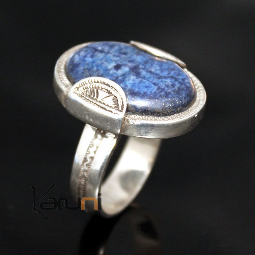 Exceptional Ring in Silver Lapis Lazuli 10 Man / Woman Oval