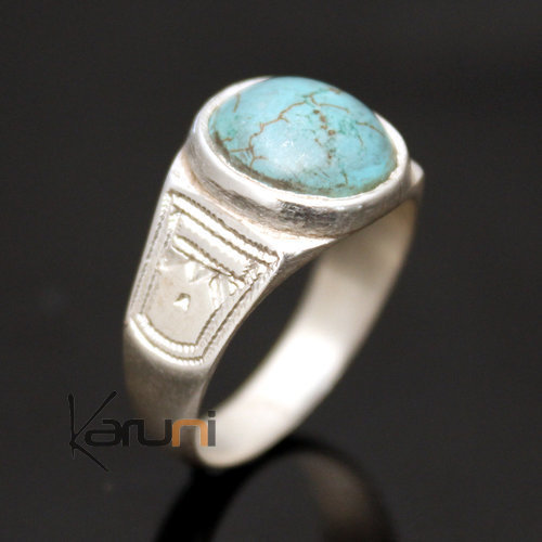 Ring in Silver and Turquoise Howlite Round 17
