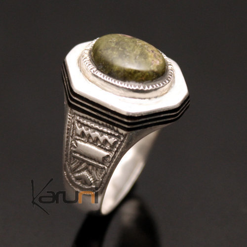 Ethnic Signet Ring Sterling Silver Jewelry Green Unakite Men/Women Tuareg Tribe Design 01