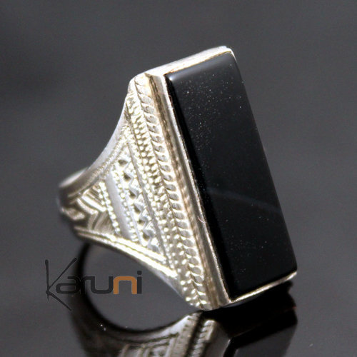 Ethnic Designer Ring Sterling Silver Jewelry Black Onyx Rectangle Tuareg Tribe Design 24