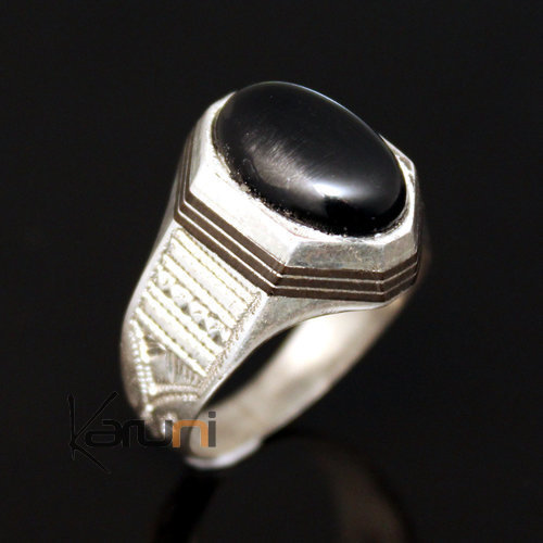 Ethnic Signet Ring Sterling Silver Jewelry Black Onyx Men/Women Tuareg Tribe Design 19