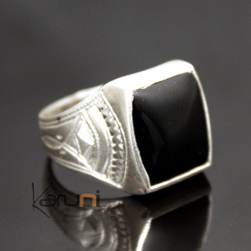 Ethnic Signet Ring Sterling Silver Jewelry Black Onyx Square Tuareg Tribe Design 20