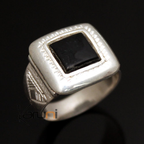 Ethnic Signet Ring Sterling Silver Jewelry Black Onyx Square Tuareg Tribe Design 21