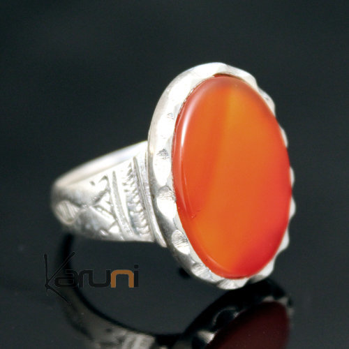 Ethnic Tuareg Tribe Design Ring Silver Hand-Engraved With Red Agate Stone 20