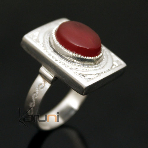 Ethnic Tuareg Tribe Design Ring Silver Hand-Engraved Rectangle With Red Agate Stone Unisex 23
