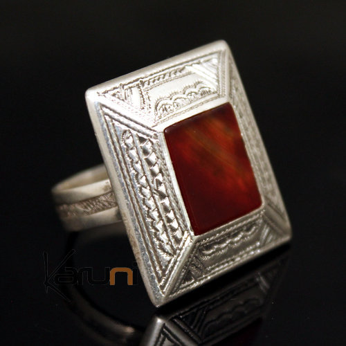 Ethnic Tuareg Tribe Design Ring Square Hand-Engraved  Silver With Red Agate Stone 27